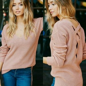 Tops - JUNE lace up sweater - BLUSH